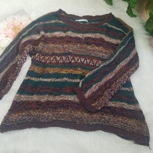MAURICES SWEATER CROCHET STRIPED SIZE LARGE